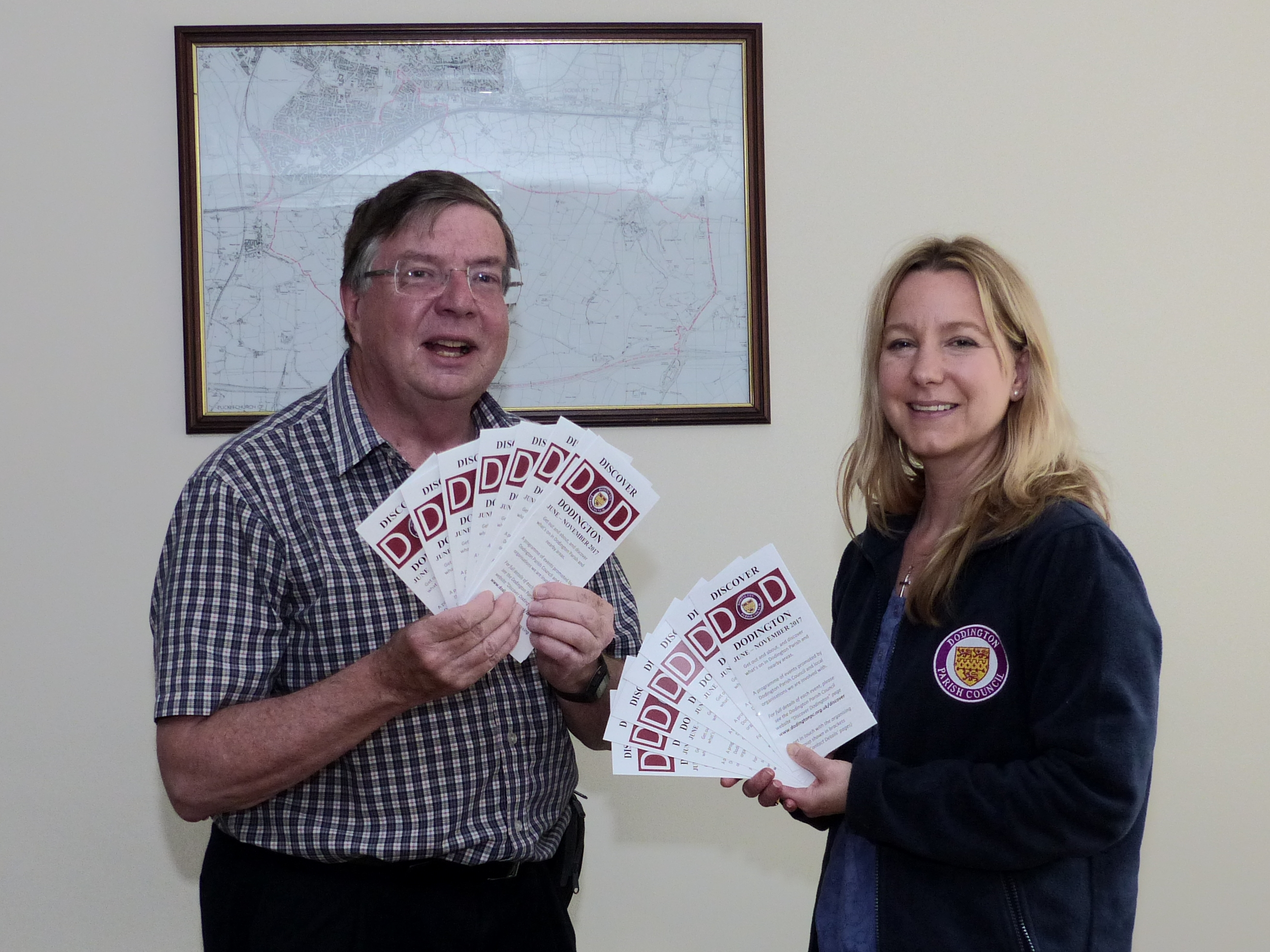 Councillor Paul Hulbert and Clerk Hannah Saunders with leaflets