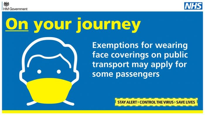 Government infographic explaining need for face coverings on public transport