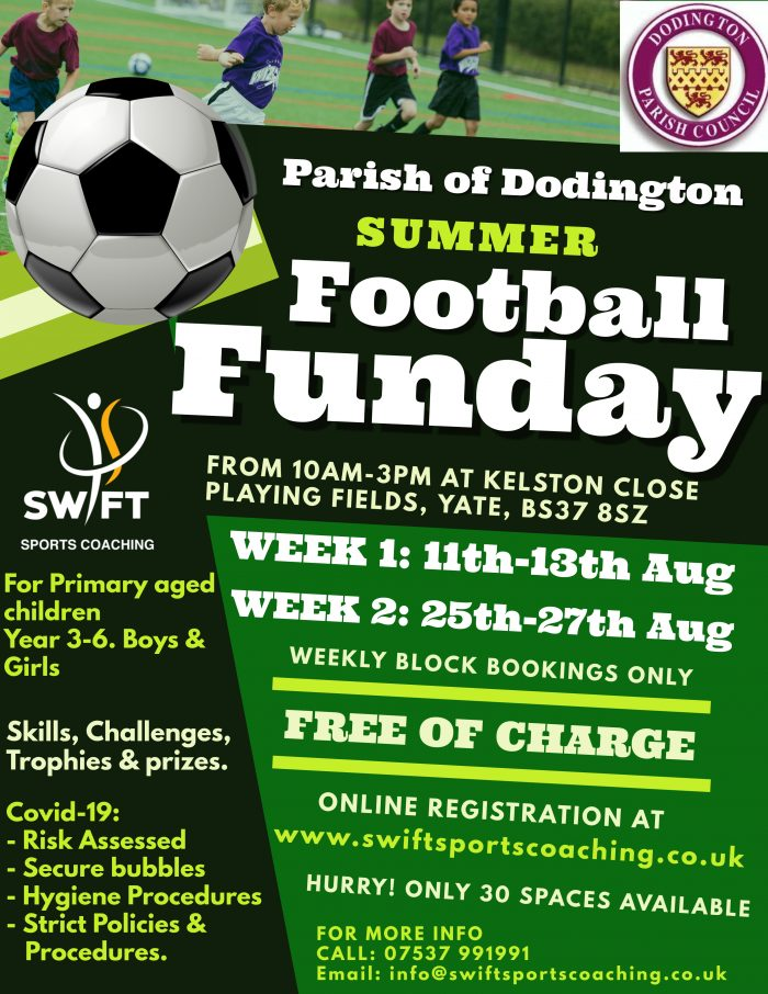 Poster advertising free summer football sessions, please contact Parish Council for details 01454 866546