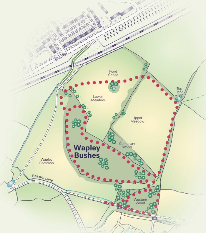 Map of Wapley Bushes.  Please call the Council if you would like help accessing a map on 01454 866546.