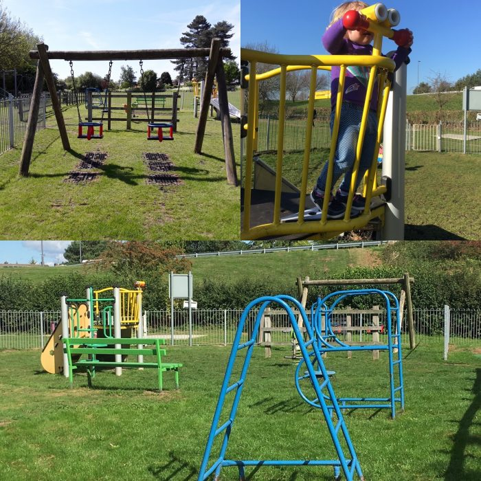 Image is a collage of three photos of Lilliput toddler play area. One photo shows a set of swings. Another shows a child playing on a multiplay. The other shows some climbing frames.