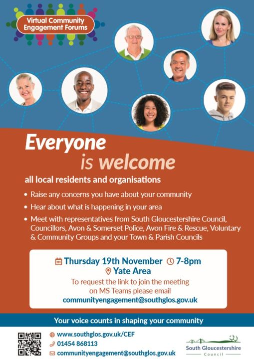 Poster displaying details of Community Engagement Forum, please email communityengagement@southglos.gov.uk for details