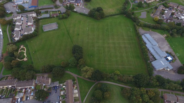 Aerial image of QEII Playing Fields