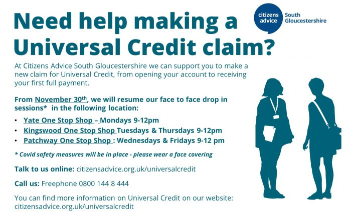 Image detailing how to get help with making a Universal Credit claim. Freephone 0800 144 8444 or visit citizensadvice.org.uk/universalcredit