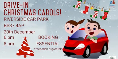 Advertisement for Drive In Christmas Carols featuring image of car and festive motifs