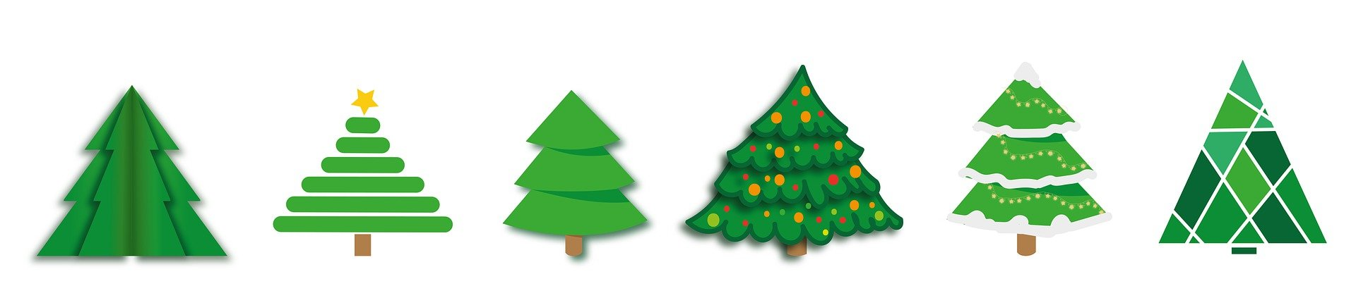 Image of four Christmas trees in a line
