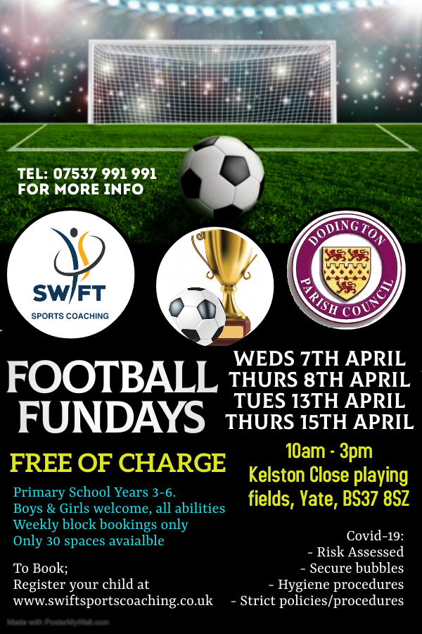 Poster advertising Easter football coaching call for details on 07537 991 991