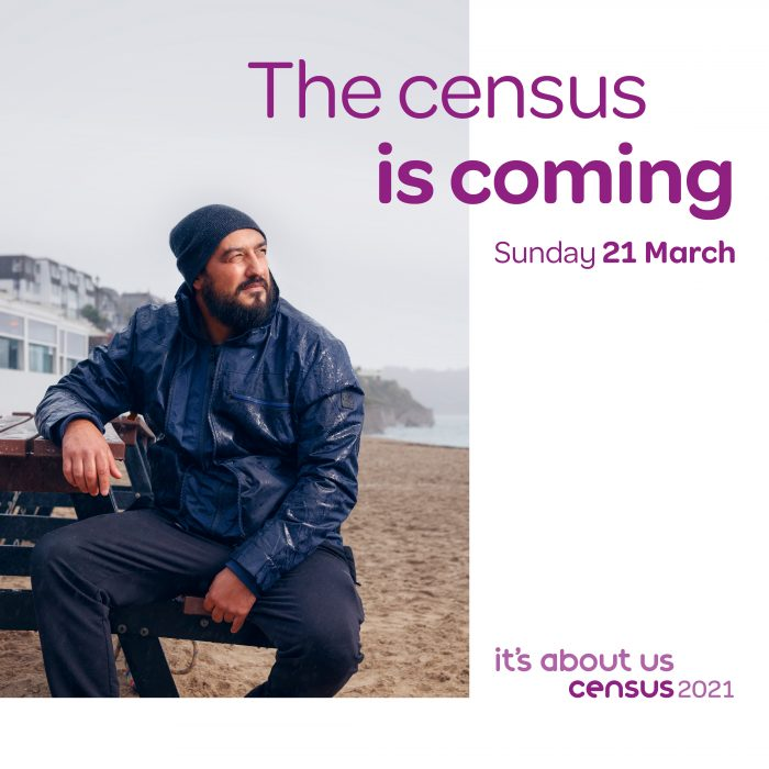 """Promotional poster for Census 2021 with image of a man sat on a bench by the coast. Text says: """"The Census is coming Sunday 21 March"""""""