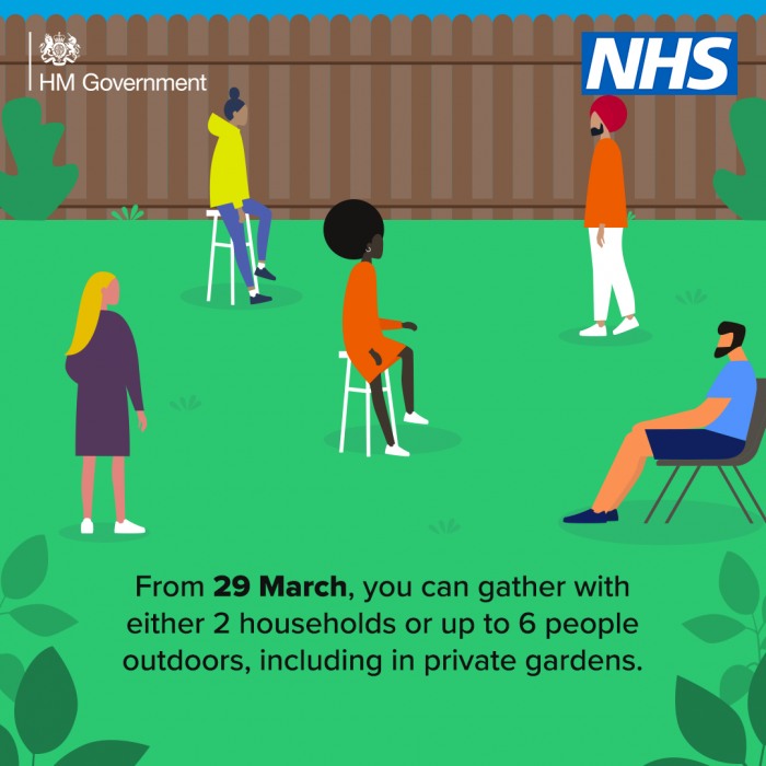 Illustration from Gov.uk about meeting outside from 29 March