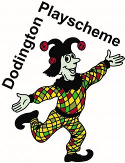 Image depicts a jester with Dodington Playscheme in text above
