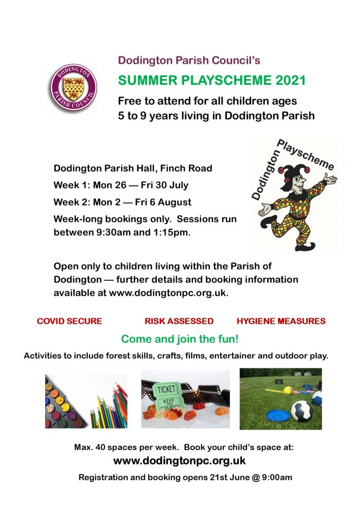 Poster explaining Summer Playscheme, please call 01454 866546 if you can't access this information